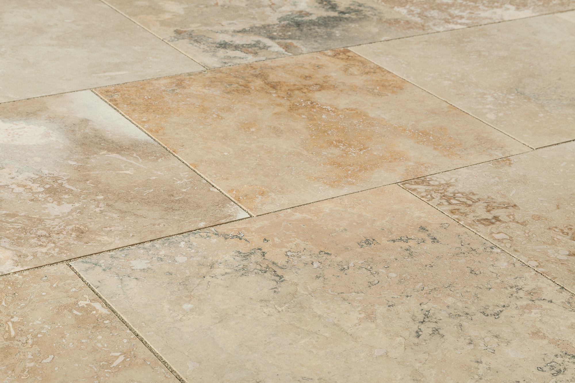 Grey travertine floor tiles
