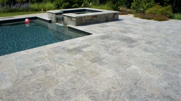 silver unfilled and tumbled travertine pavers french pattern tiles