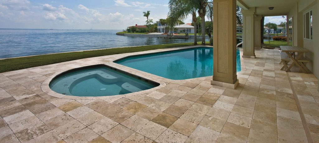 Ideal areas where travertine tiles and pavers can be used around the home