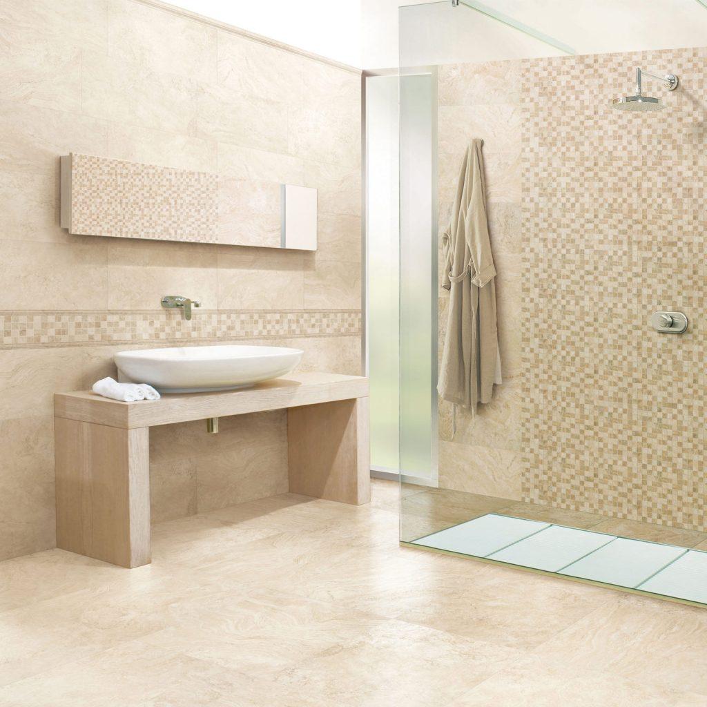 white Travertine bathroom tiles
