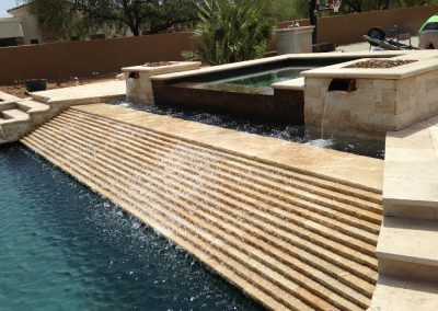ivory travertine unfilled and tumbled pool coping tiles and pool pavers