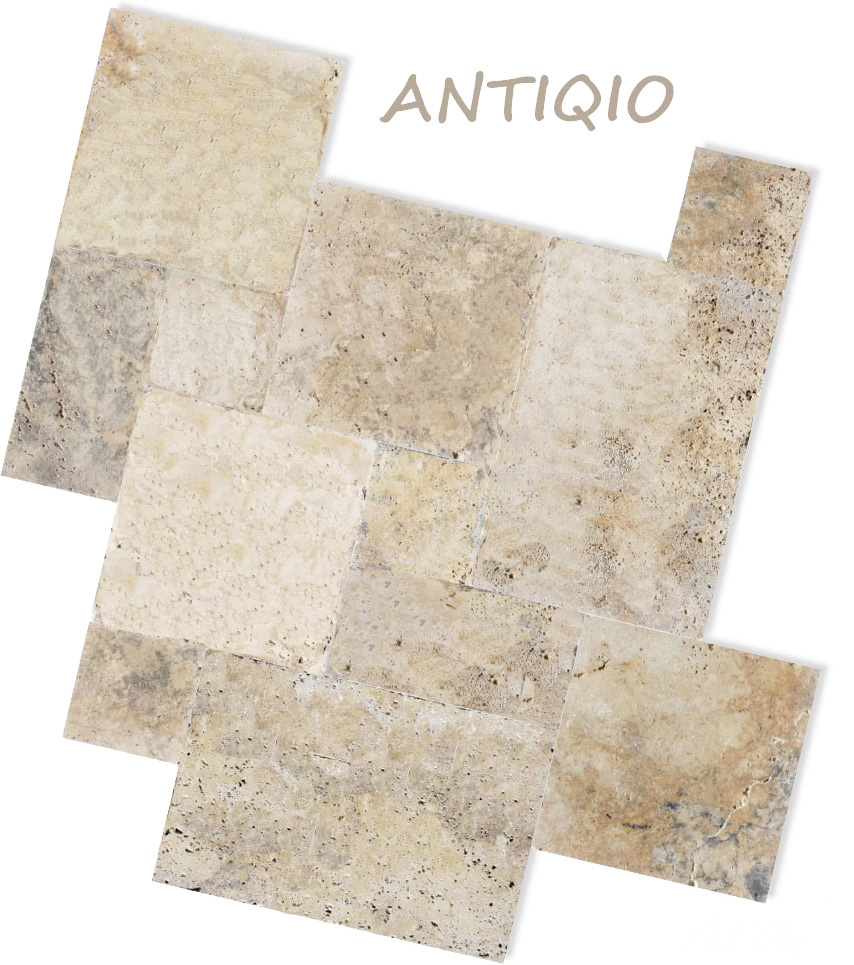 Antique travertine french pattern tiles and pavers