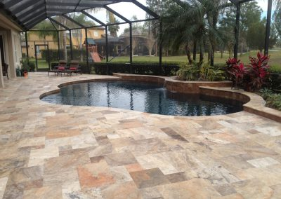 Antique travertine french pattern pavers