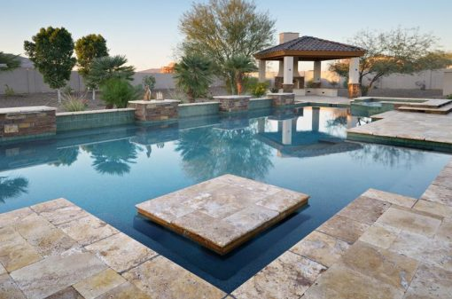 antique travertine unfilled and tumbled pavers and pool coping tiles