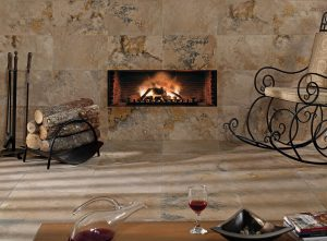 antique travertine filled and honed fire place