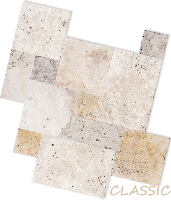 classic travertine unfilled and tumbled french pattern