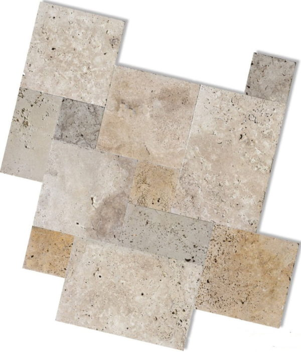 Unfilled and tumbled French pattern travertine tiles and pavers