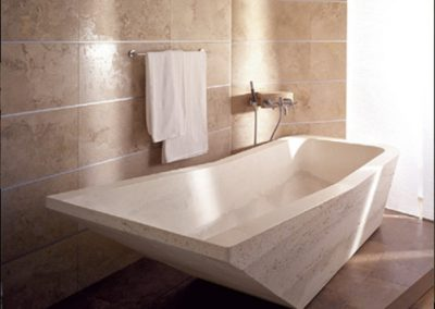 noce travertine honed and filled bathroom tiles