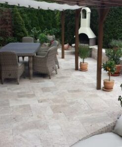 ivory unfilled and tumbled french pattern alfresco area travertine tiles