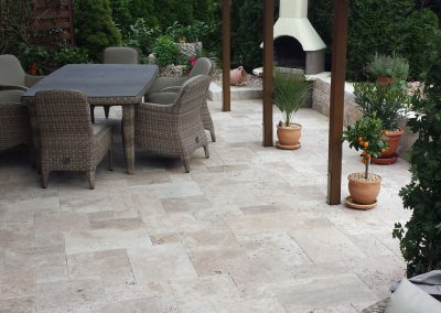 ivory travertine unfilled and tumbled french pattern alfresco area