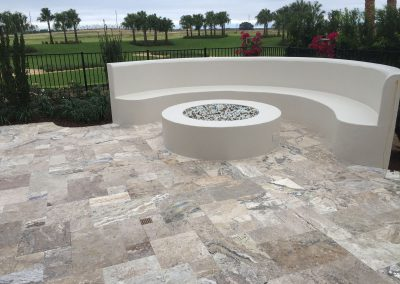 oyster unfilled and tumbled travertine pavers french pattern outdoor area
