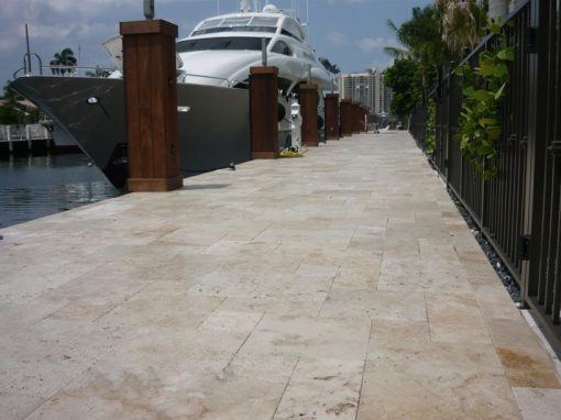 ivory unfilled and tumbled travertine pavers