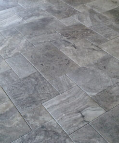 silver travertine tiles filled and honed french pattern