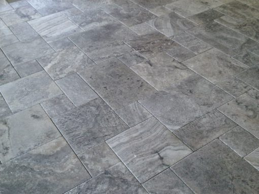 silver travertine filled and honed french pattern