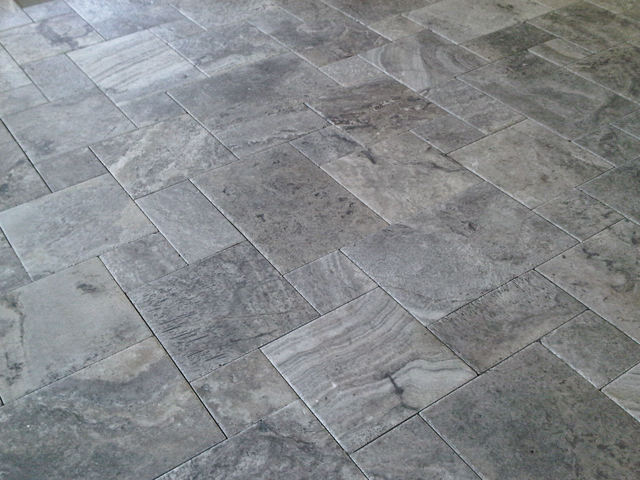 Honed and Filled Silver Travertine Floor Tiles French Pattern