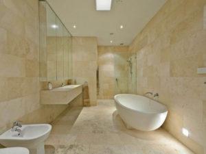 ivory filled and honed travertine floor tiles bathroom tiles