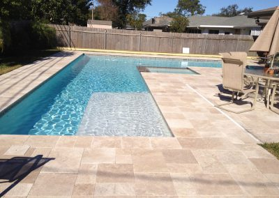 noce unfilled and tumbled travertine french pattern pavers and coping tiles