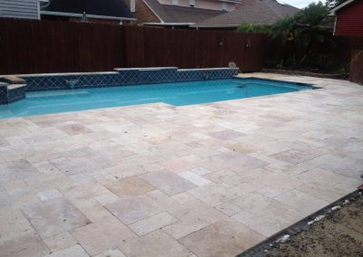 antique travertine unfilled and tumbled french pattern pool coping and pool pavers