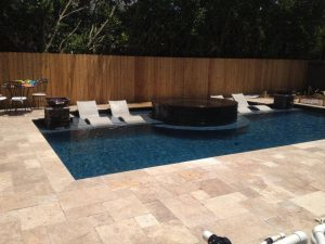 ivory travertine unfilled and tumbled outdoor area pool pavers and coping