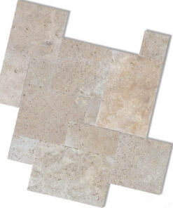 ivory french pattern unfilled and tumbled tiles