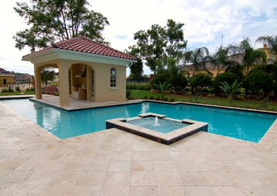 Ivory french pattern pool paving tiles