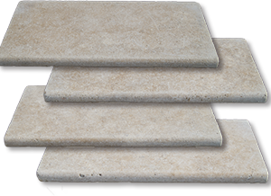 ivory bullnose unfilled and tumbled travertine pool coping tiles