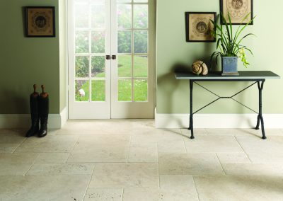 Ivory travertine floor tiles tumbled and unfilled