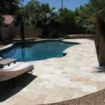 ivory unfilled and tumbled travertine french pattern pavers and coping tiles