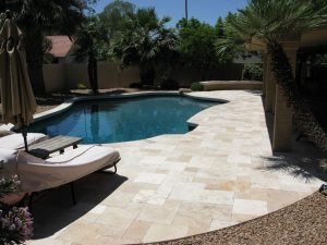 ivory unfilled and tumbled travertine pool tiles pavers and coping tiles
