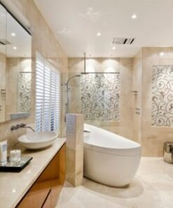 ivory travertine filled and honed bathroom and wall tiles