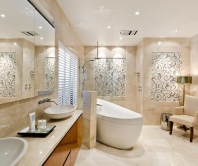 ivory travertine filled and honed bathroom floor tiles and wall tiles