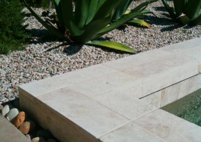 Ivory travertine square edge pool coping tiles