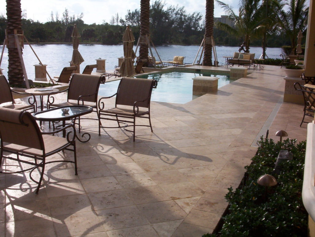 Noce travertine Tiles unfilled and tumbled pool pavers and coping
