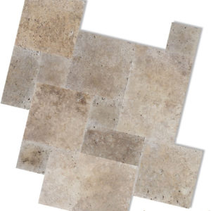 noce travertine french pattern unfilled and tumbled tiles