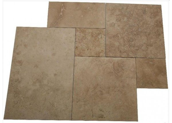 noce travertine honed and filled french pattern tiles