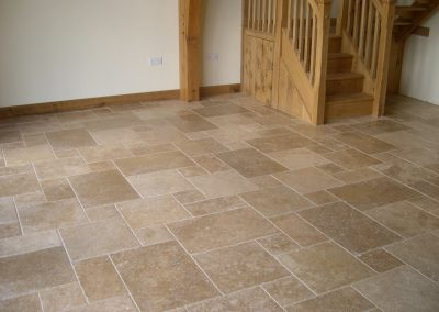 Noce floor tiles travertine french pattern honed and filled
