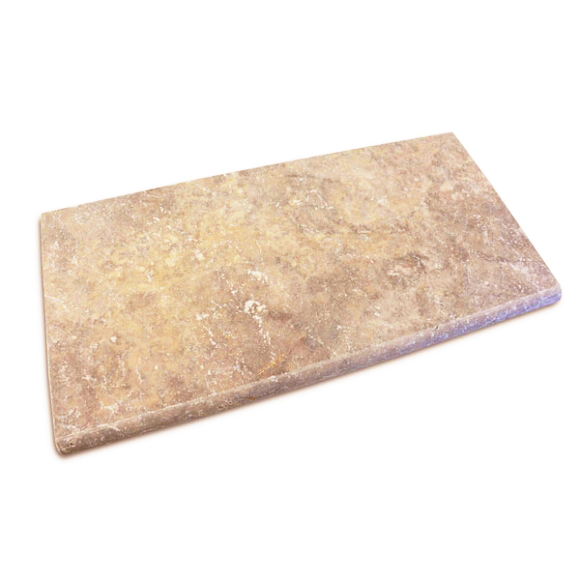 noce travertine unfilled and tumbled bullnose pool coping tiles