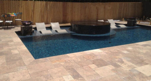Noce Travertine Tiles french pattern pool coping and pavers