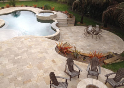 Noce travertine tumbled and unfilled french pattern outdoor non slip tiles