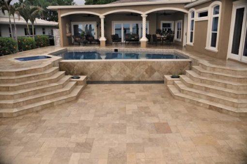 noce travertine unfilled and tumbled french pattern pool pavers and coping tiles