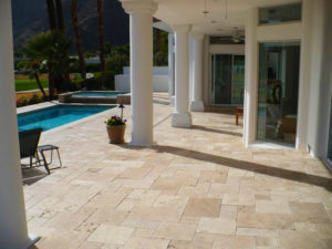 ivory travertine tiles unfilled and tumbled french pattern