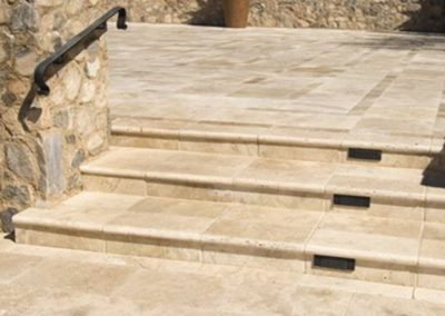 Outdoor travertine step tread tiles and pavers