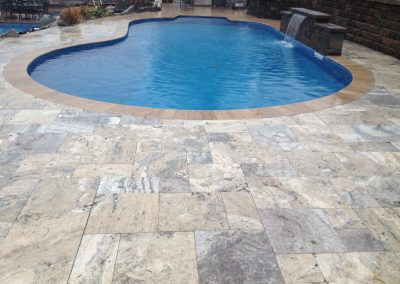 silver unfilled and tumbled travertine coping tiles and pavers french pattern