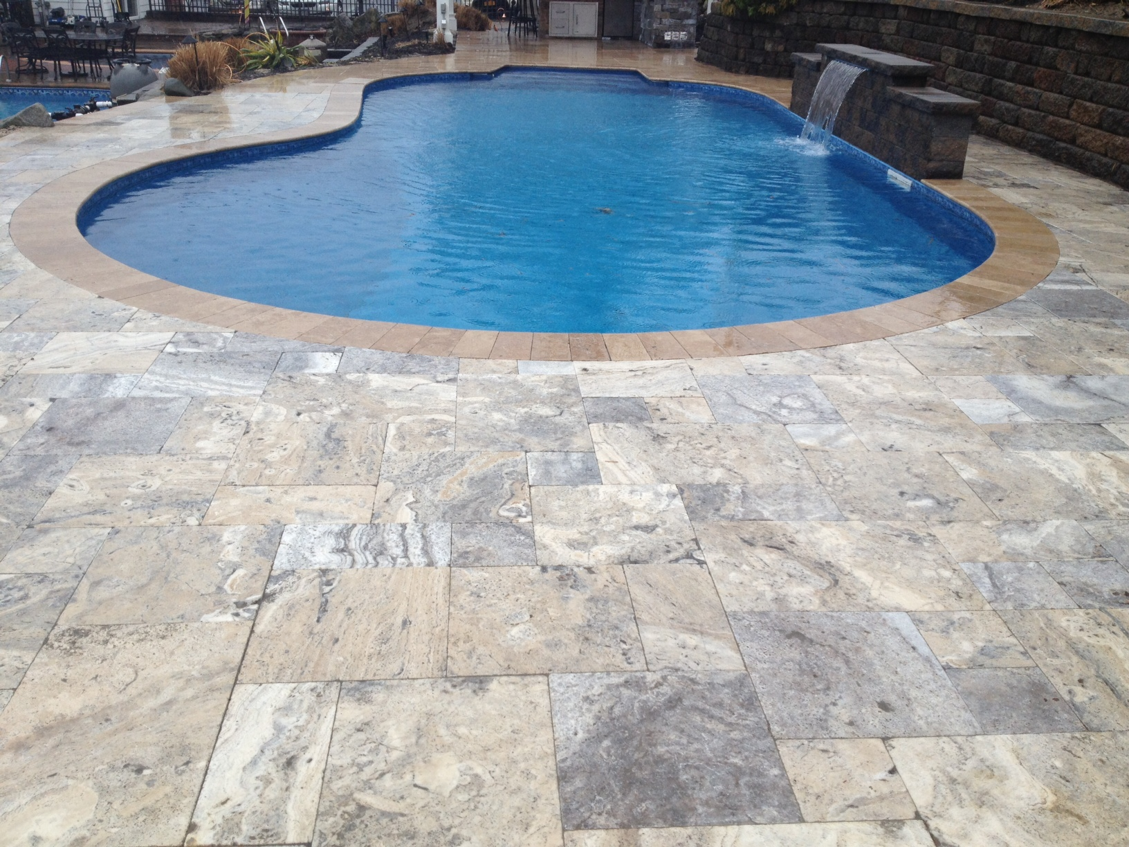Silver travertine french pattern available in both for Paver installation adelaide