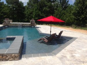 silver travertine unfilled and tumbled outdoor area pool pavers