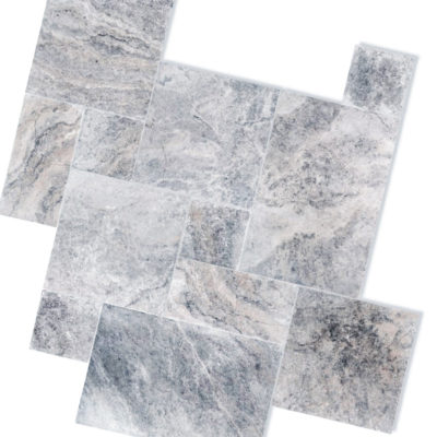 silver travertine french pattern unfilled and tumbled tiles
