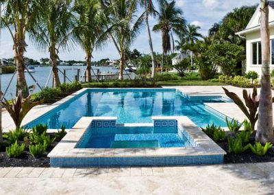 ivory travertine unfilled and tumbled pool pavers and coping tiles