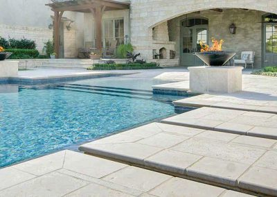 shell white unfilled and tumbled limestone travertine pool pavers and coping tiles
