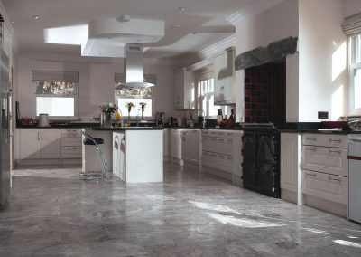 silver filled and honed travertine kitchen tiles