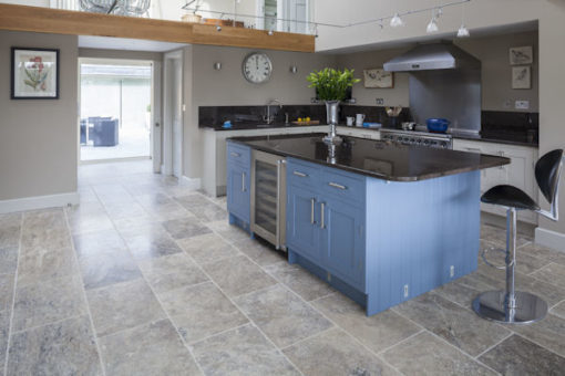 silver travertine kitchen tiles filled and honed